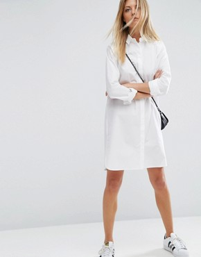 photo Cotton Shirt Dress by ASOS, color White - Image 4
