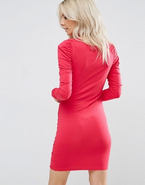 photo Ruched Mini Bodycon Dress with Long Sleeve by ASOS PETITE, color Bright Pink - Image 2