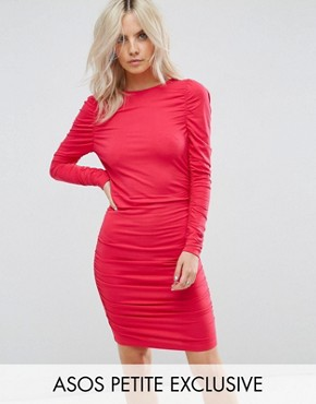 photo Ruched Mini Bodycon Dress with Long Sleeve by ASOS PETITE, color Bright Pink - Image 1
