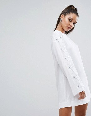 photo Bell Sleeve Grommet Dress by Kendall + Kylie, color White - Image 2