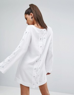 photo Bell Sleeve Grommet Dress by Kendall + Kylie, color White - Image 1