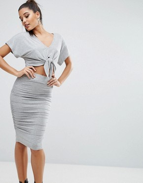 photo Tie Dress by Kendall + Kylie, color Grey - Image 1