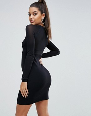 photo Sheer Yoke L/S Dress by Kendall + Kylie, color Black - Image 2