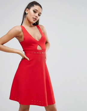 photo Pointelle Open Back Dress by Kendall + Kylie, color Bright Red - Image 1