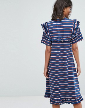 photo T-Shirt Dress in Stripe with Half Zip by STYLENANDA, color Navy - Image 2