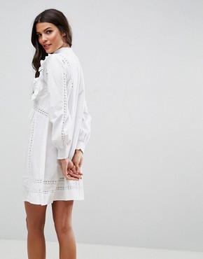 photo High Neck Cotton Swing Dress with Ruffles and Lace Inserts by ASOS, color White - Image 2