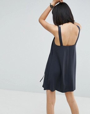 photo Buckle Detail Mini Slip Dress by ASOS, color Grey - Image 2