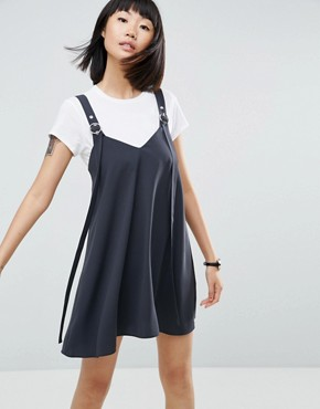 photo Buckle Detail Mini Slip Dress by ASOS, color Grey - Image 1