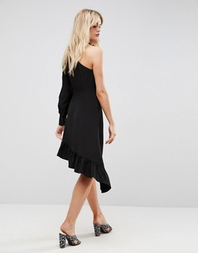 photo One Sleeve Scarf Neck Tie Midi Dress by ASOS, color Black - Image 2