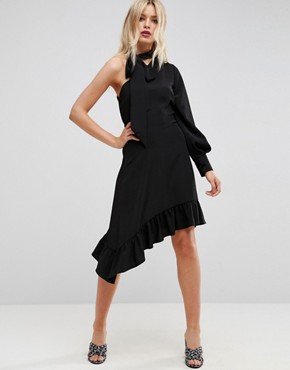 photo One Sleeve Scarf Neck Tie Midi Dress by ASOS, color Black - Image 1