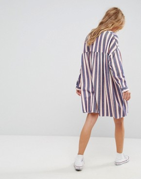photo Smock Dress in Natural Fibre Stripe with Zip by ASOS, color Multi - Image 2