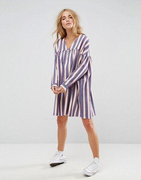 photo Smock Dress in Natural Fibre Stripe with Zip by ASOS, color Multi - Image 1
