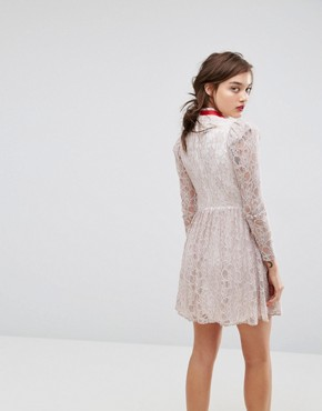photo Lace Puff Sleeve Mini Dress with Ribbon Neck by ASOS, color Ivory - Image 2