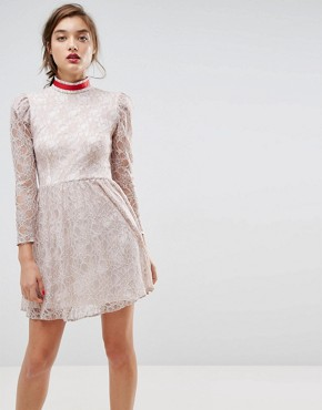 photo Lace Puff Sleeve Mini Dress with Ribbon Neck by ASOS, color Ivory - Image 1