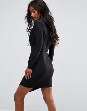 photo Long Sleeve Midi Tux Dress with Zip Through Skirt by ASOS, color Black - Image 2