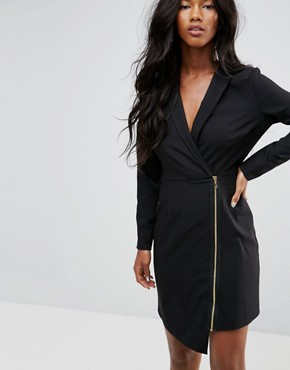 photo Long Sleeve Midi Tux Dress with Zip Through Skirt by ASOS, color Black - Image 3