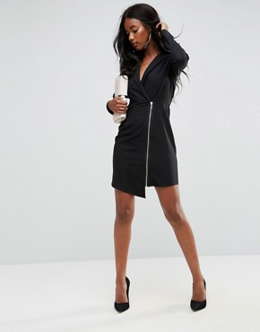 photo Long Sleeve Midi Tux Dress with Zip Through Skirt by ASOS, color Black - Image 4