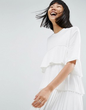 photo Satin and Tulle Mini Dress by ASOS WHITE, color White - Image 1