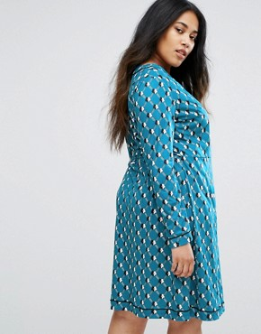 photo Geometric Daisy Print Wrap Dress by Uttam Boutique Plus, color Teal - Image 2