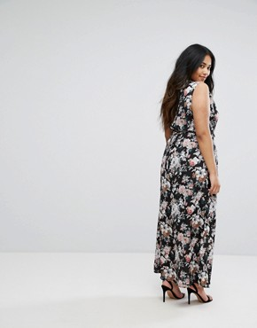 photo Floral Print Maxi Dress with Lace Trim by Uttam Boutique Plus, color Black - Image 2