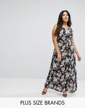 photo Floral Print Maxi Dress with Lace Trim by Uttam Boutique Plus, color Black - Image 1