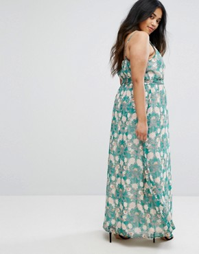 photo Flower Print Maxi Dress by Uttam Boutique Plus, color Green - Image 2