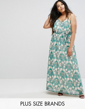photo Flower Print Maxi Dress by Uttam Boutique Plus, color Green - Image 1
