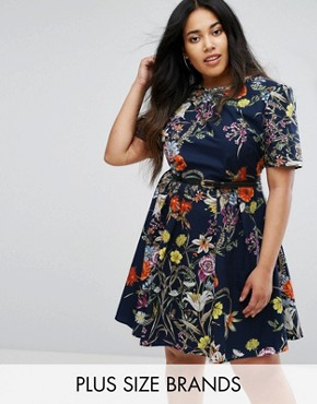 photo Floral Print Belted Dress by Uttam Boutique Plus, color Navy - Image 1
