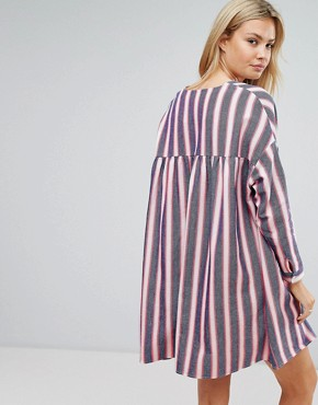 photo Smock Dress in Natural Fibre Stripe with Zip by ASOS TALL, color Multi - Image 2