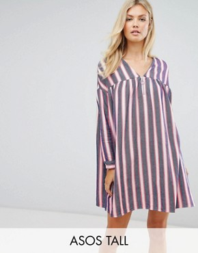 photo Smock Dress in Natural Fibre Stripe with Zip by ASOS TALL, color Multi - Image 1