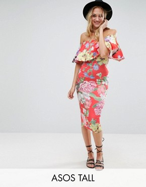 photo Floral Ruffle Bardot Off Shoulder Midi Dress by ASOS TALL, color Floral - Image 1