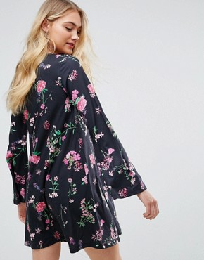 photo Button Through Swing Dress with Trumpet Sleeve in Floral Print by ASOS TALL, color Multi - Image 2