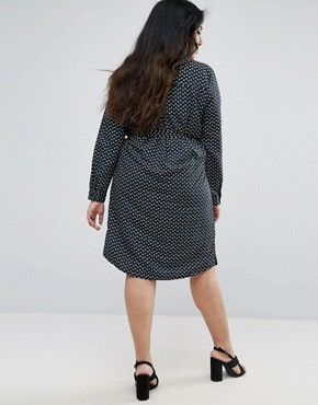 photo Simber Printed Shirt Dress by Brave Soul Plus, color Black Combo - Image 2