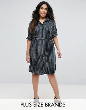 photo Simber Printed Shirt Dress by Brave Soul Plus, color Black Combo - Image 1