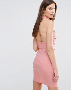 photo High Neck Plunge Lace Mini Dress by Rare London, color Blush Pink - Image 2