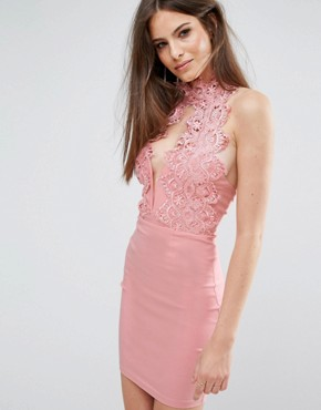 photo High Neck Plunge Lace Mini Dress by Rare London, color Blush Pink - Image 1
