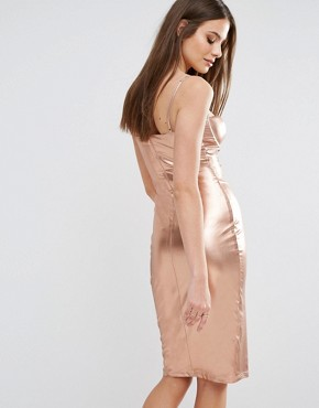 photo High Neck Plunge Midi Dress in High Shine by Rare London, color Rose Gold - Image 2