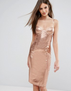 photo High Neck Plunge Midi Dress in High Shine by Rare London, color Rose Gold - Image 1