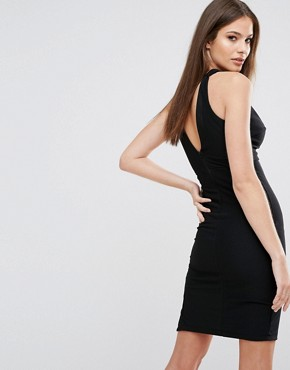 photo Plunge Neck Dress with Wavy Trim by Rare London, color Black - Image 2