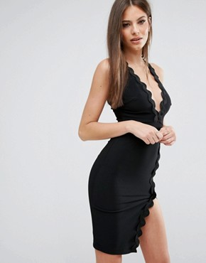 photo Plunge Neck Dress with Wavy Trim by Rare London, color Black - Image 1