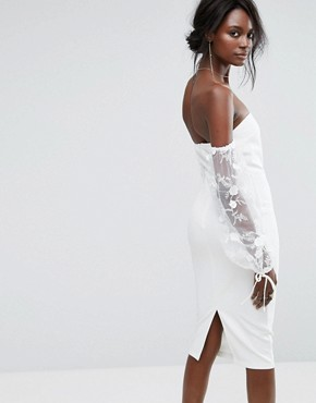 photo Bardot Embroidered Puff Sleeve Dress by Missguided, color Cream - Image 2