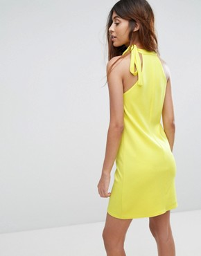 photo Scuba Shift Dress with Tie Neck by Oh My Love, color Sulphur - Image 2