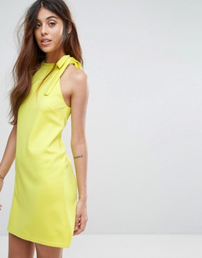 photo Scuba Shift Dress with Tie Neck by Oh My Love, color Sulphur - Image 1