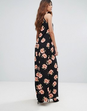 photo Halterneck Maxi Slip Dress by Oh My Love, color Black Floral - Image 2
