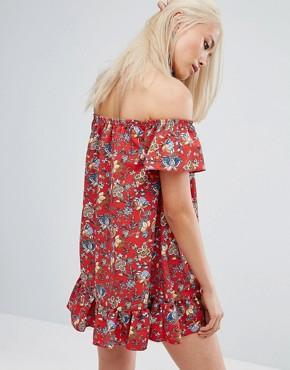 photo Vintage Off Shoulder Mini Festival Dress with Lace Up Choker in Paisley by Milk It, color Red - Image 2