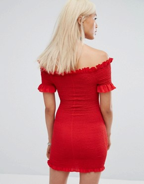 photo Vintage Off Shoulder Shirred Festival Bodycon Dress by Milk It, color Red - Image 2