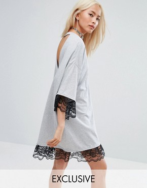 photo Vintage Oversized Festival T-Shirt Dress with Open Back and Lace Trim by Milk It, color Grey - Image 1
