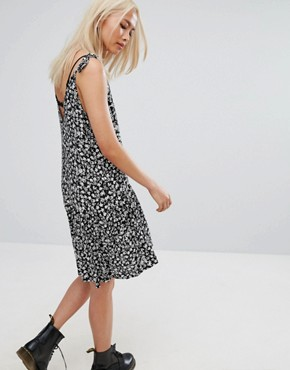photo Vintage Drop Waist Mini Festival Cami Dress in Floral by Milk It, color Black - Image 2
