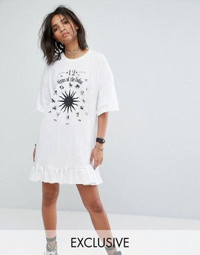photo Vintage T-Shirt Dress with Zodiac Print and Peplum Hem by Milk It, color White - Image 1