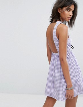 photo Vintage Cutout Mini Dress in Gingham by Milk It, color Purple - Image 2